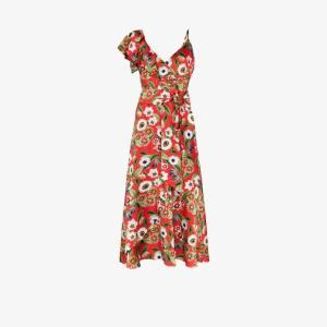 Borgo De Nor Womens Red Isadora Floral Print Ruffle Midi Dress