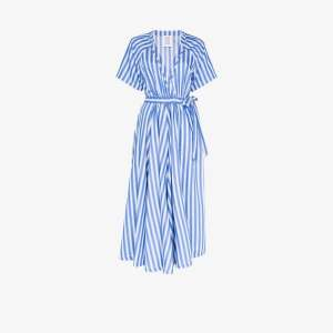 Rosie Assoulin Womens Blue Stripe Wrap Jumpsuit