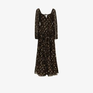 Rixo Womens Black Cameron Star Print Maxi Dress