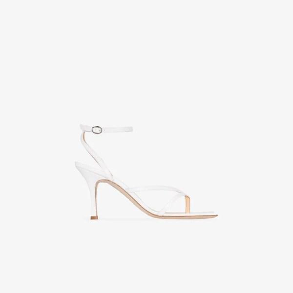 A.w.a.k.e. Mode Womens White Delta 80 Leather Sandals