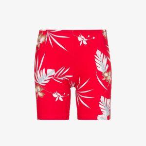 Paco Rabanne Womens Red Hawaiian Print Logo Cycling Shorts