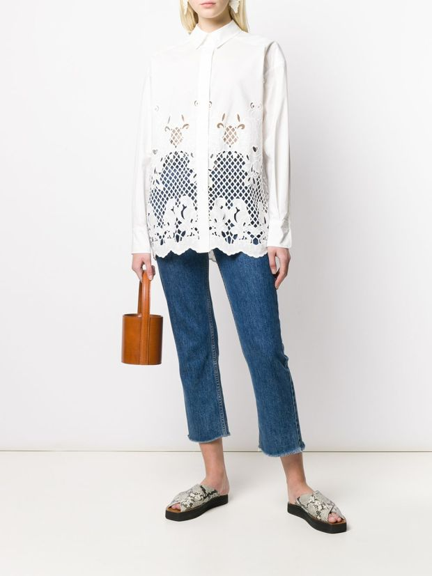 Image 2 of See by Chloé laser-cut longline shirt