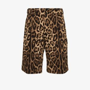 Dolce & Gabbana Mens Brown Leopard Print Bermuda Shorts