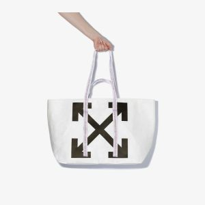 Off-white Womens Black And White Arrow Print Pvc Tote