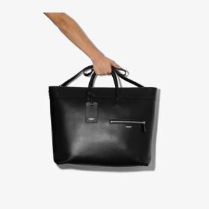 Burberry Mens Black Sanford Leather Tote Bag