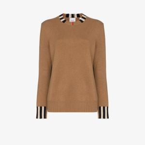 Burberry Womens Neutrals Icon Stripe Trim Cashmere Sweater