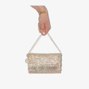 Rosantica Womens Metallic Gold Tone Rosanna Crystal Embellished Bag