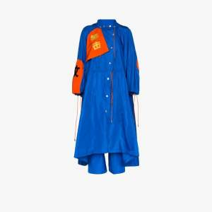 Angel Chen Womens Blue Toko Fuki Embroidered Drawstring Coat