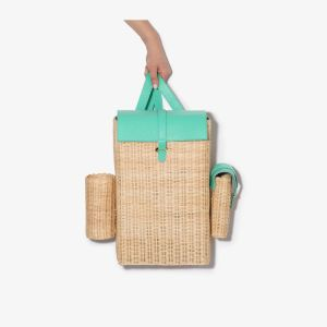 Natasha Zinko Womens Neutrals Green And Neutral Woven Straw Backpack
