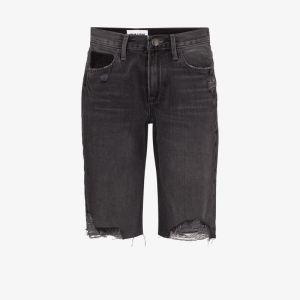Frame Womens Black X Imaan Distressed Knee-length Denim Shorts