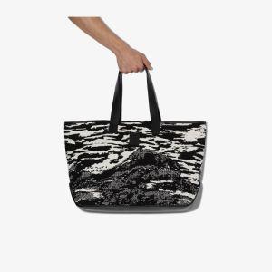 Marcelo Burlon County of Milan black and white mountains tote bag