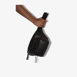 Moncler Mens Black Durance Leather Belt Bag