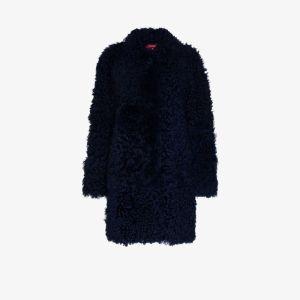 Sies Marjan Womens Midnight Blue Ripley Shearling Coat