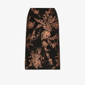Dries Van Noten Womens Black Salvy Floral Jacquard Pencil Skirt