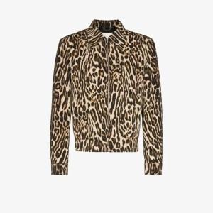 Dries Van Noten Mens Brown William Animal Print Zip-up Wool Jacket