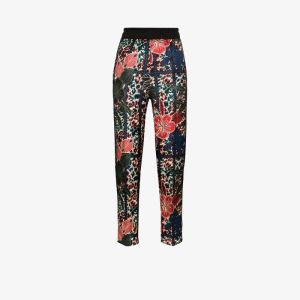 Moncler Womens Blue Tapered Floral Print Trousers