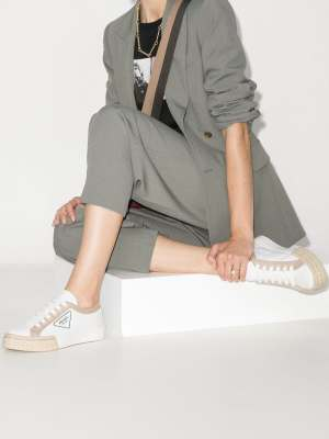 Prada Womens White Gabardine Low-top Sneakers