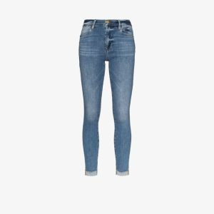 Frame Womens Blue Le High Frayed Stepped Hem Skinny Jeans