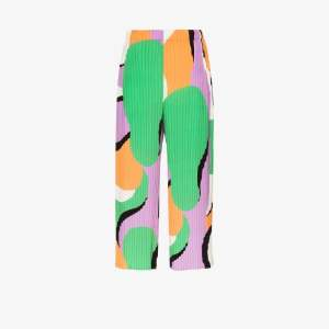 Issey Miyake Womens Purple Printed Pleated Cropped Trousers