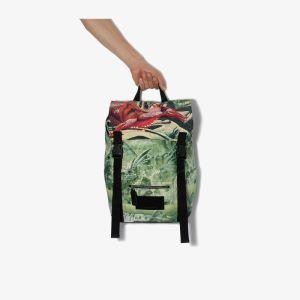 Valentino Mens Garavani Green Red Dragon Print Backpack