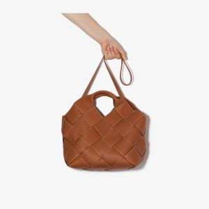 Loewe Womens Brown Woven Leather Basket Bag