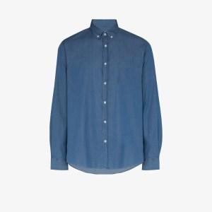 Sunspel Mens Blue Button-down Denim Shirt