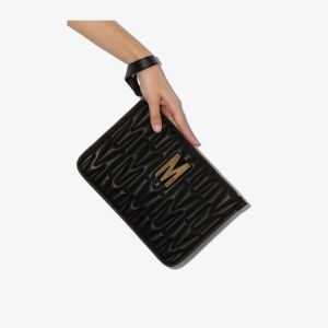 Moschino Womens Black Quilted Monogram Clutch
