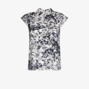 Erdem Womens Blue Opal Printed Silk Blouse