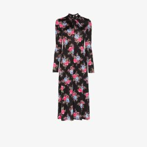 Erdem Womens Black Nolene Floral Print Midi Dress
