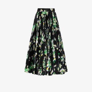 Richard Quinn Womens Black High Waist Floral Midi Skirt