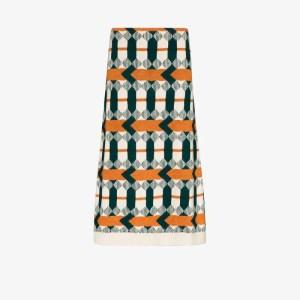 Prada Womens White Geometric Virgin Wool Jacquard Pencil Skirt