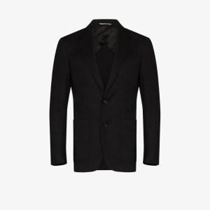 Canali Mens Black Single-breasted Wool Blazer