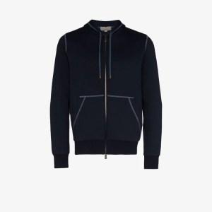 Canali Mens Blue Contrast Stitch Cotton Blend Hoodie