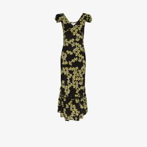 Rentrayage Womens Black Floral Print Midi Dress