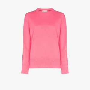 Ply-knits Womens Pink Crew Neck Cashmere Sweatshirt