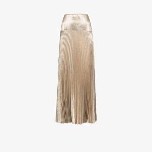 Chloé Womens Gold Metallic Pleated Maxi Skirt