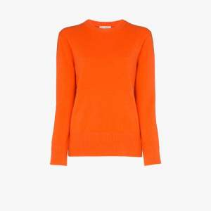 Ply-knits Womens Orange Round Neck Cashmere Sweater