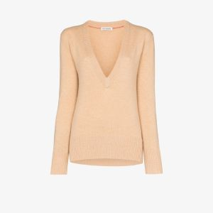 Ply-knits Womens Neutrals V-neck Cashmere Sweater