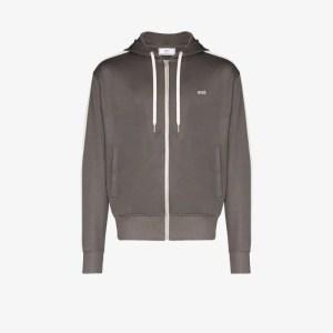 Ami Mens Grey Ami Mens Grey Embroidery Zipped Hoodie
