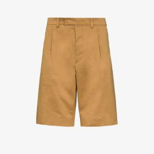 Prada Mens Neutrals Pleated Bermuda Shorts
