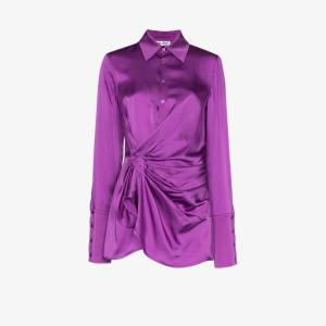 The Attico Womens Purple Attico Drs Mini Vn Ls Wrap Frnt Light Sa