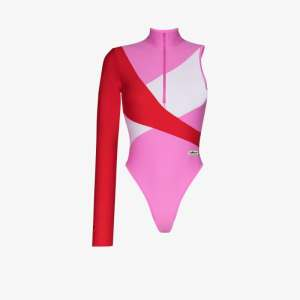 Adidas X Lotta Volkova Womens Pink X Lotta Volkova One Sleeve Swimsuit