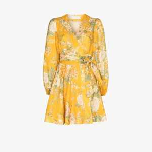 Zimmermann Womens Yellow Amelie Floral Print Mini Dress