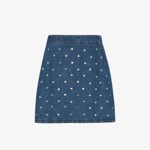 Ganni Womens Blue Studded Denim Skirt