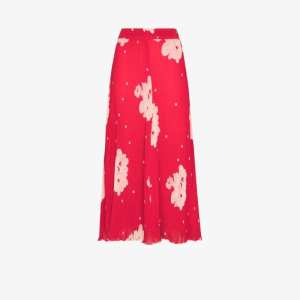 Ganni Womens Red Floral Print Pleated Skirt