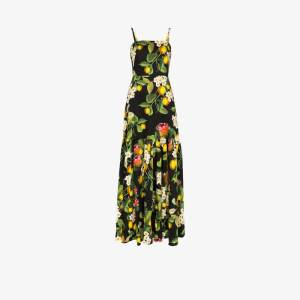 Borgo De Nor Womens Black Cordelia Floral Flared Cotton Maxi Dress