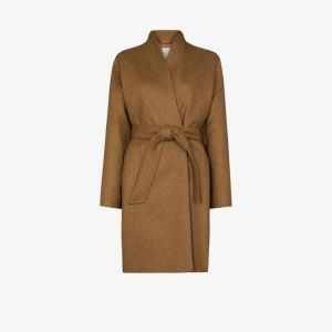 Samuel Guì Yang Womens Neutrals Wool Wrap Coat