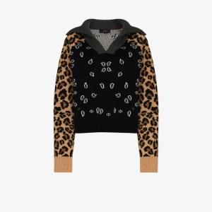 Alanui Womens Brown Leopard Bandana Cashmere Sweater