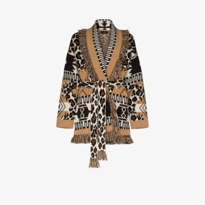 Alanui Womens Neutrals Leopard Icon Cashmere Cardigan