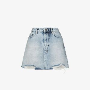 Ksubi Womens Model Frayed Denim Mini Skirt